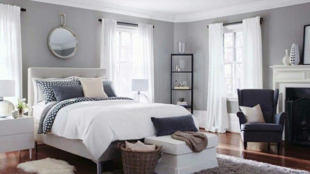 Chambre classique gris et blanc