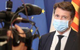 Christian Estrosi mairede Nice avec un masque anti-covid